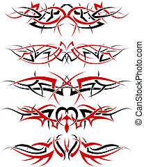 tattoos set - Patterns of black and red tribal tattoo for...