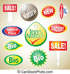 Sale Icons - Various sale icons for natural and bio...