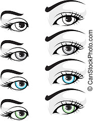 Eye set 01 - illustration of vector elegant colored eye
