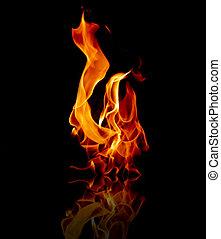 fuego, Llamas, reflejado, agua