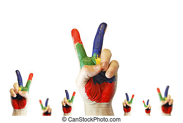 Hands in paint show V symbol