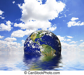 Earth in abstract water.