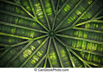 ceiling design - Detail of a green old wooden ceiling with...