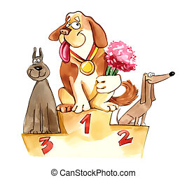 dogs on exhibition podium - humorous illustration of dogs on...
