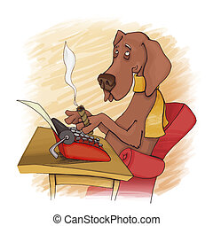 dog writer - humorous illustration of dog writing on type...