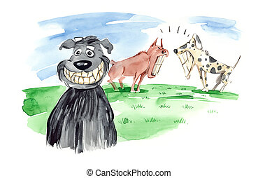 dogs bare teeth - humorous illustration of dog bares his...