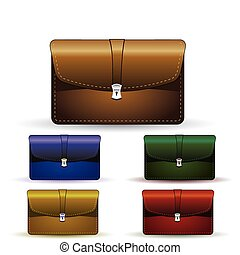 briefcase set - illustration of elegant briefcase colored...