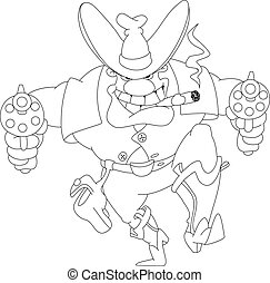cowboy with revolvers outlined - illustration of a cowboy...