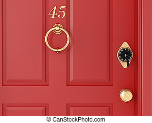 red door with locker - elegant red door with security locker