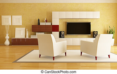 living room with hd tv - elegant living room with flat tv -...
