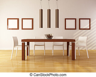 minimalist dining room - elegant dining room with wooden...