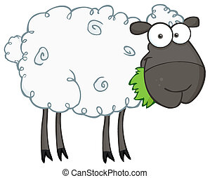 Black Barnyard Sheep Eating Grass - Black Sheep Cartoon...