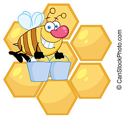 Worker Bee Carrying Two Buckets
