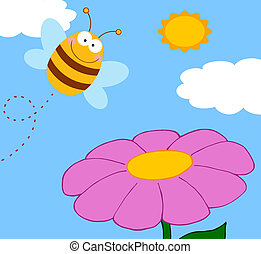 Bee Pollinating A Purple Flower - Bee Cartoon Character...