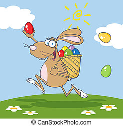 Brown Bunny With A Basket And Egg - Happy Brown Easter...
