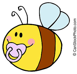 Pudgy Baby Bee With A Pacifier - Flying Baby Bee Cartoon...