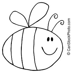 Outlined Pudgy Bee - Flying Bee Cartoon Character