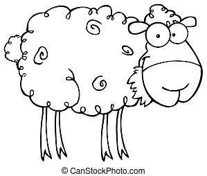 Outlined  Sheep Eating Grass