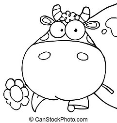 Outlined Cow Eating A Flower - Outlined Cow Head Cartoon...