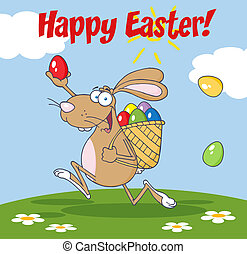 Happy Easter Greeting From Rabbit