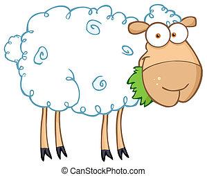 Barnyard Sheep Eating Grass - White Sheep Cartoon Character...