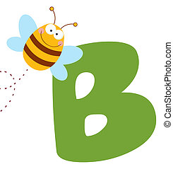 Bee With Letters B  - Happy Bee By A Letter B