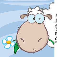 Sheep Eating A Flower Over Blue