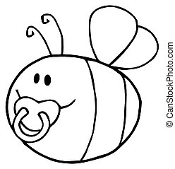 Outlined Pudgy Baby Bee - Fflying Baby Bee Cartoon Character...