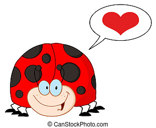 Infatuated Ladybug - LadyBird Cartoon Character With Speech...