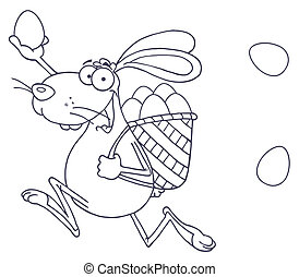 Happy Easter Rabbit Running - Outlined Happy Easter Rabbit...