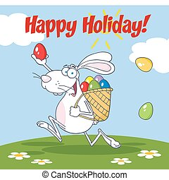 Rabbit Running With A Basket - Happy Easter Greeting Over A...