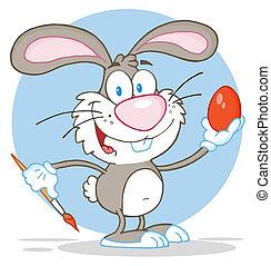 Gray Rabbit Painting Easter Egg