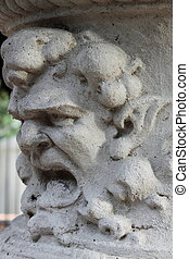 Anger - Ancient marble basrelief with an angry face