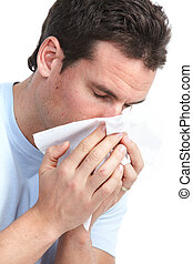 Flu, allergy - Young man having flu or allergy. Isolated...