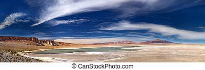 panoramic view of salt lake Salar de Tara, Chile