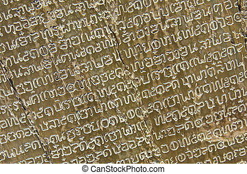 Thai scripture - old thai writing at the memorial of King...