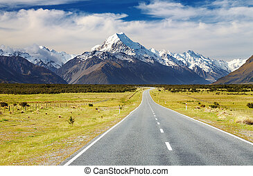 Mount Cook, New Zealand - Road to mount Cook, Southern Alps,...