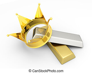 Royal commodities - A crown with gold and silver. 3D...
