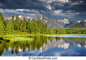 Mountain lake at sunset, Altai mountains