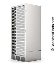Server Tower - 3D rendered Illustration. Isolated on white....