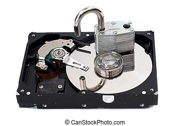 Unlocked Padlock on a Hard Disk Drive - A strong padlock...