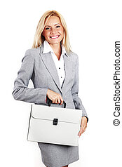 business woman with case - woman call with case isolated on...