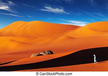 Sahara Desert, Algeria - Tuareg in desert at sunset, Sahara...