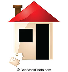 House missing puzzle piece - Concept illustration showing a...