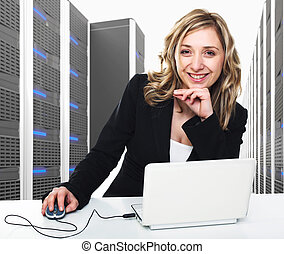 virtual server 3d and woman - 3d image of datacenter with...