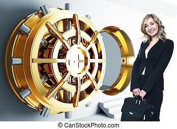 woman and bank vault - bank golden vault door 3d and smiling...