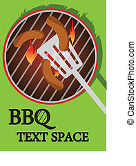 BBQ cooking - BBQ illustration of some sausages cooking on a...