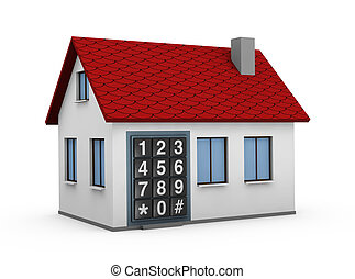 electronic keypad - One 3d render of a house with a...