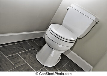 Modern Toilet - A modern toilet in a bathroom with black and...