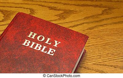 bíblia, ligado, madeira